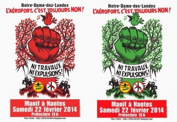 Depuis Poitiers le  22 février contre l'aéroport de Notre dame des Landes