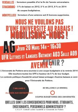 Collectif étudiant contre l'austérité à Poitiers