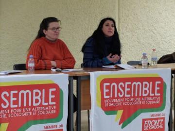 Myriam Martin, porte parole d'Ensemble!, à Poitiers le 15 mars