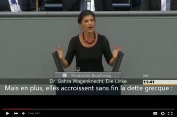 Grèce: La députée Allemande Sarah Wagenknecht (Die Linke) contre les politiques de son pays