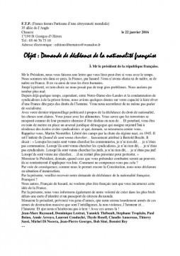 Objet : Demande de déchéance de la nationalité française