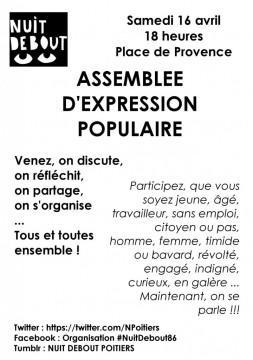Poitiers, place de Provence, samedi 16 avril, 18 heures. Nuit debout