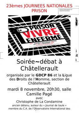 « Prison, vivre enfermé » @ salle Camille Pagé | Châtellerault | Aquitaine-Limousin-Poitou-Charentes | France