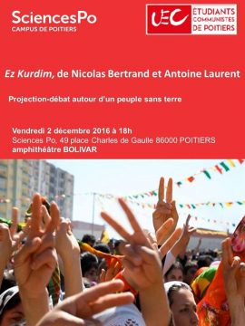 Ez Kurdim, Projection-Débat autour d'un peuple sans terre @ Amphithéâtre Bolivar, Sciences-Po Poitiers