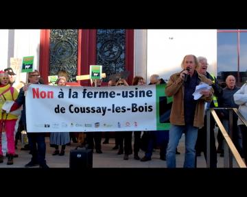 Vidéo d'une des allocutions à la manifestation contre la ferme usine de Coussay les Bois