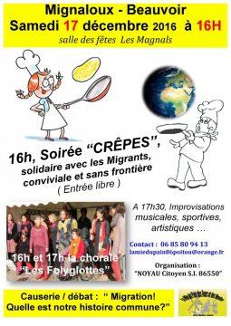 Soirée crêpes solidaire et sans frontière @ salle des Magnals | Mignaloux-Beauvoir | Nouvelle-Aquitaine | France