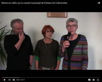 Retour en vidéo sur le conseil municipal de Poitiers du 5 décembre