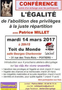 L'égalité : de l'abolition des privilèges à la juste répartition @ Le Toit du Monde | Poitiers | Nouvelle-Aquitaine | France