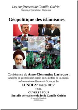 Conférence Géopolitique Islamismes @ lycée Camille Guérin | Poitiers | Nouvelle-Aquitaine | France