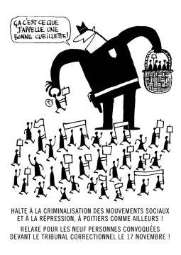 Soutien aux 9 manifestant;e.s inculpé.e.s de Poitiers!  Tous et toutes devant le TRIBUNAL de Poitiers le 17 NOVEMBRE à 9H00!