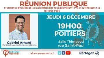 Meeting « européennes » de France insoumise avec Gabriel Amard sur la question de l'eau @ Salle Timbaud de la Maison du Peuple | Poitiers | Nouvelle-Aquitaine | France