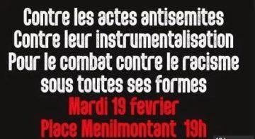 Contre les actes antisémites, contre leur instrumentalisation, pour le combat contre toutes les formes de racisme