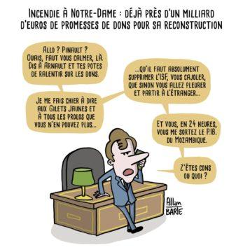"""Les """"dons"""" défiscalisés des milliardaires  avec Macron en conseiller financier. Dessin reçu"""