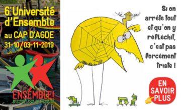 Sixième université d'Ensemble! à Cap d'Agde, du 31 octobre au 3 novembre 2019 @ Azureva Cap d'Agde Village Club