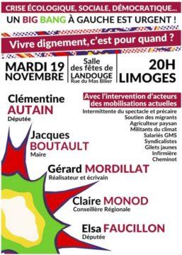 Un big bang à gauche est urgent !  rendez vous à Limoges le 19 novembre 2019 @ Salle des fêtes de Landouge