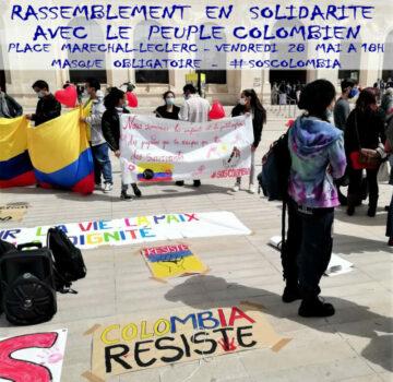 Rassemblement en soutien au peuple colombien @ Place de la Mairie - Poitiers